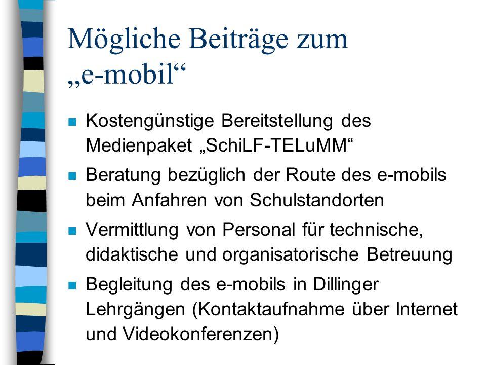 """Mögliche Beiträge zum """"e-mobil"""
