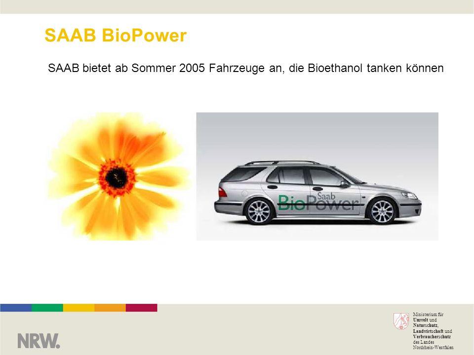 SAAB bietet ab Sommer 2005 Fahrzeuge an, die Bioethanol tanken können