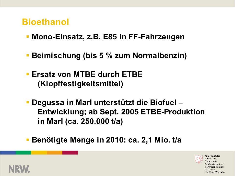 Bioethanol Mono-Einsatz, z.B. E85 in FF-Fahrzeugen