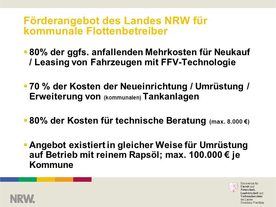 Förderangebot des Landes NRW für kommunale Flottenbetreiber