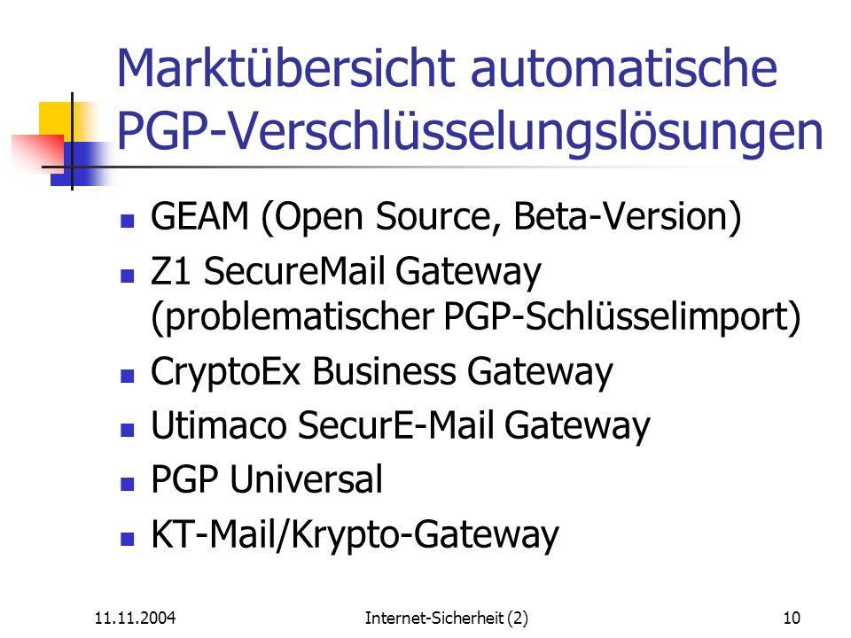 Marktübersicht automatische PGP-Verschlüsselungslösungen