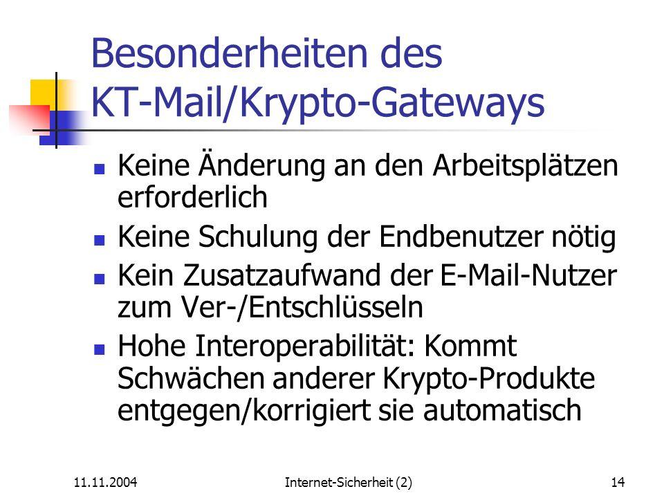 Besonderheiten des KT-Mail/Krypto-Gateways