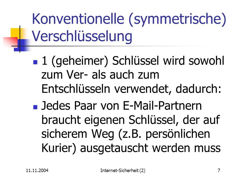 Konventionelle (symmetrische) Verschlüsselung