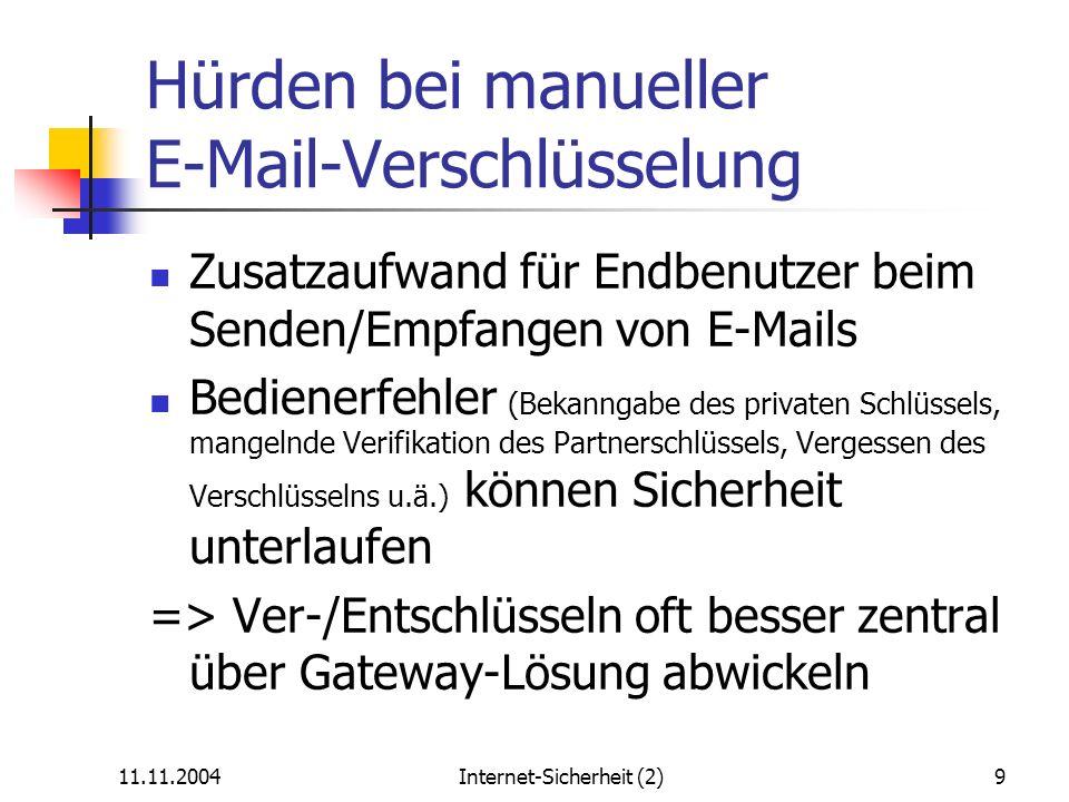Hürden bei manueller E-Mail-Verschlüsselung