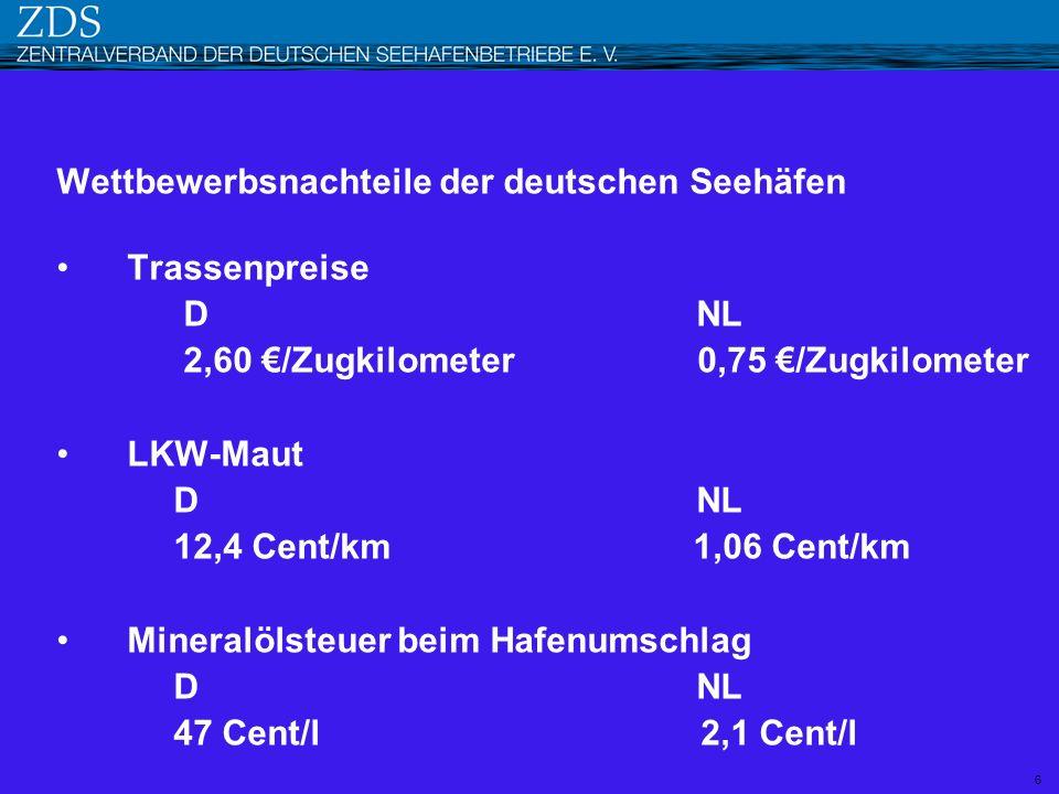 Wettbewerbsnachteile der deutschen Seehäfen Trassenpreise D NL