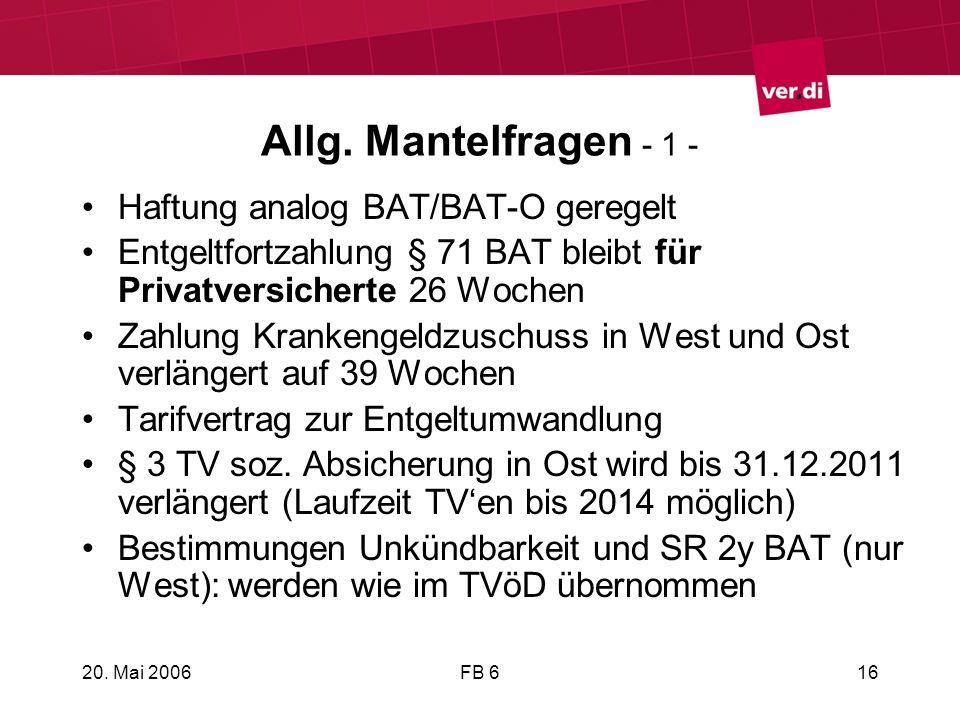 Allg. Mantelfragen - 1 - Haftung analog BAT/BAT-O geregelt