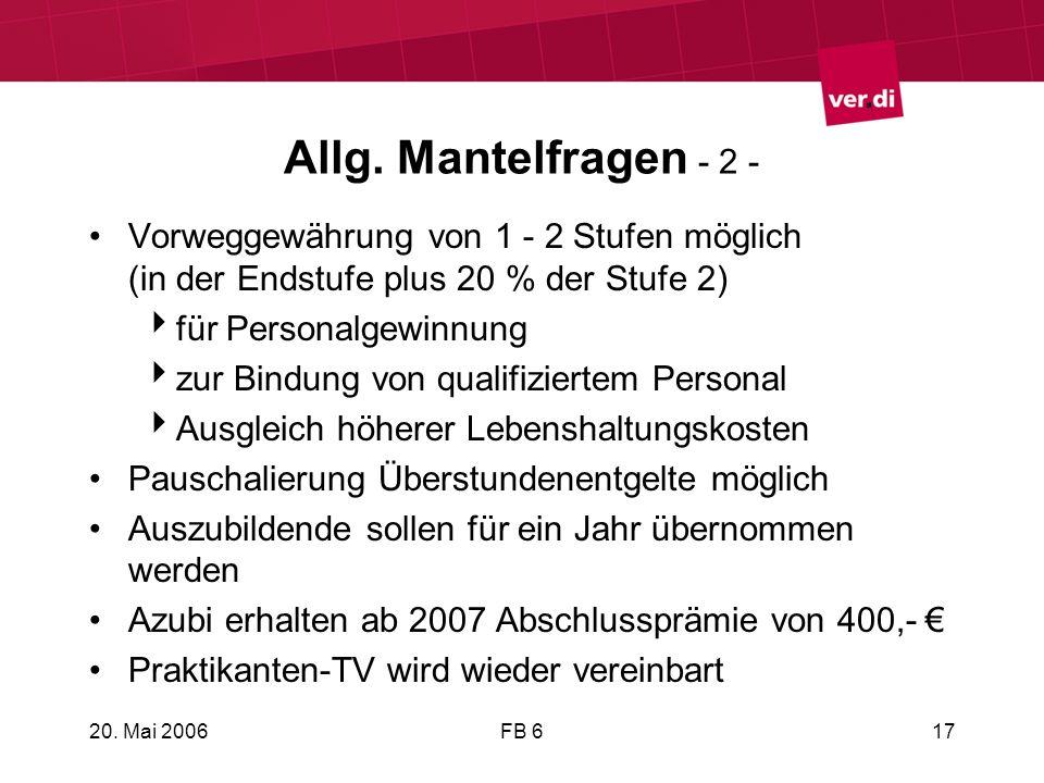 Allg. Mantelfragen - 2 - Vorweggewährung von 1 - 2 Stufen möglich (in der Endstufe plus 20 % der Stufe 2)