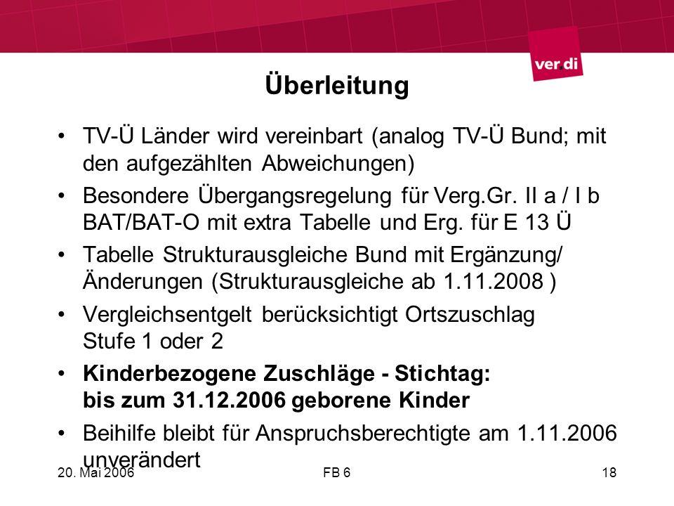 Überleitung TV-Ü Länder wird vereinbart (analog TV-Ü Bund; mit den aufgezählten Abweichungen)