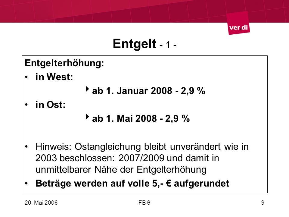 Entgelt - 1 - Entgelterhöhung: in West: ab 1. Januar 2008 - 2,9 %