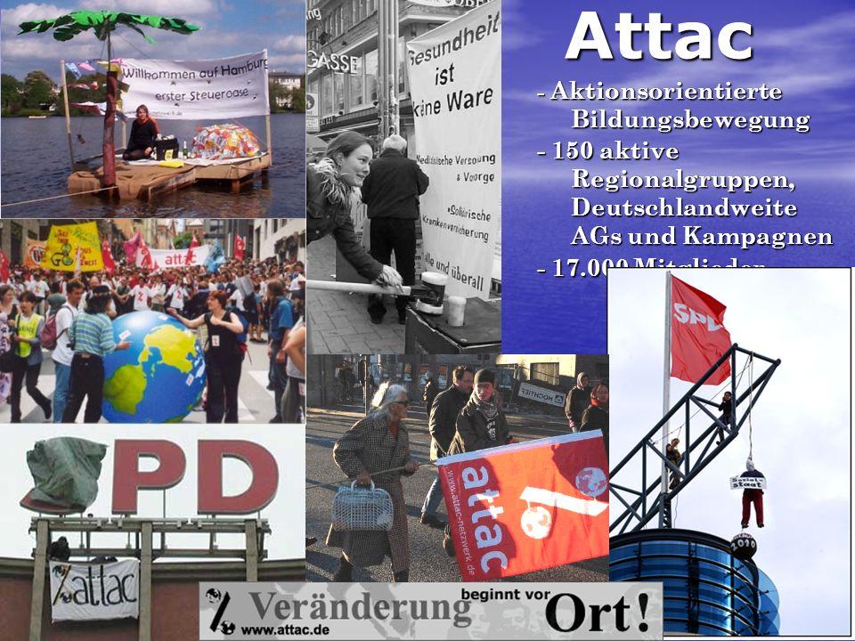 Attac - 150 aktive Regionalgruppen, Deutschlandweite AGs und Kampagnen