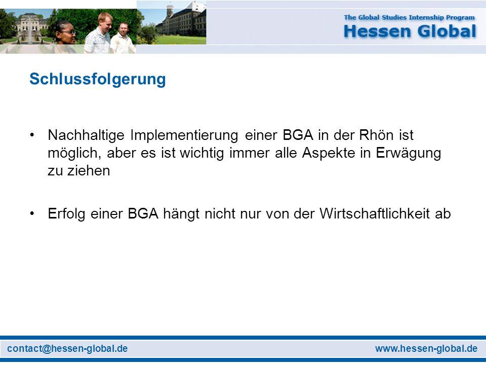 Schlussfolgerung Nachhaltige Implementierung einer BGA in der Rhön ist möglich, aber es ist wichtig immer alle Aspekte in Erwägung zu ziehen.