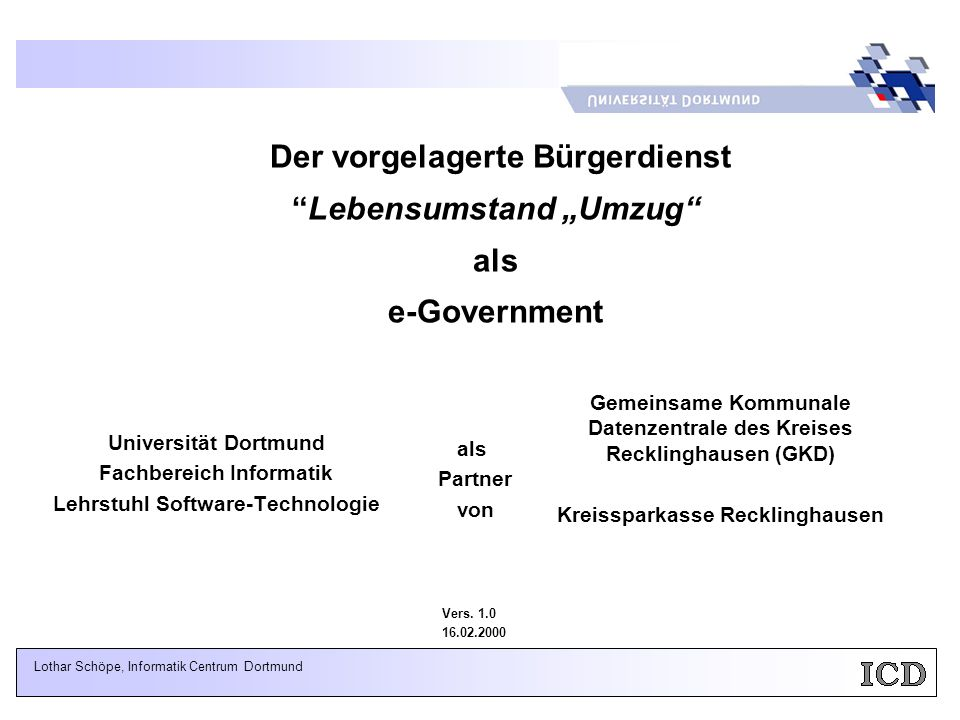 """Der vorgelagerte Bürgerdienst Lebensumstand """"Umzug als e-Government"""