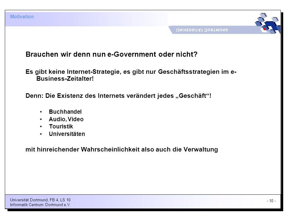 Brauchen wir denn nun e-Government oder nicht