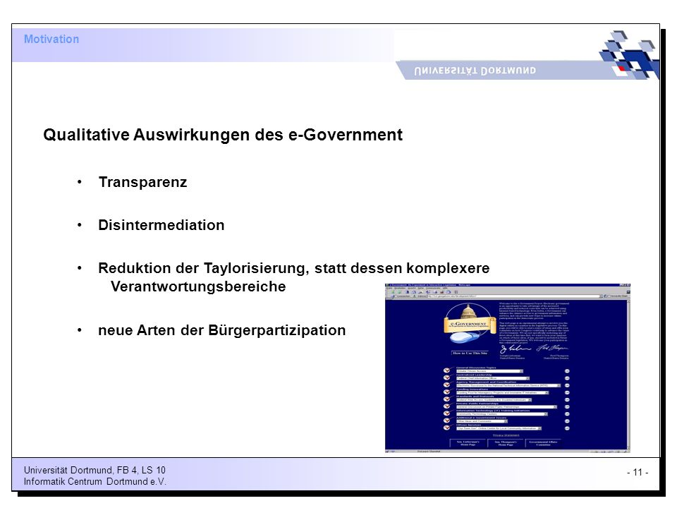 Qualitative Auswirkungen des e-Government