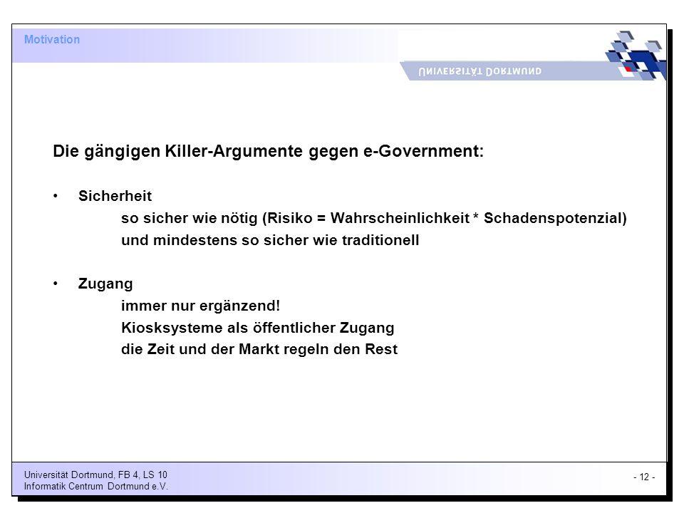 Die gängigen Killer-Argumente gegen e-Government: