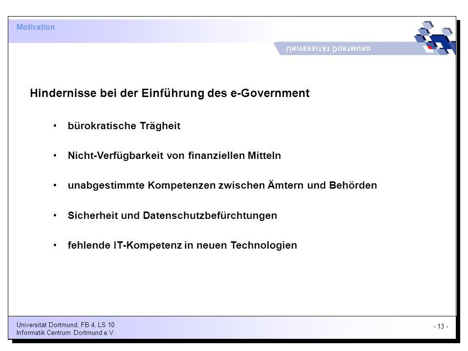 Hindernisse bei der Einführung des e-Government