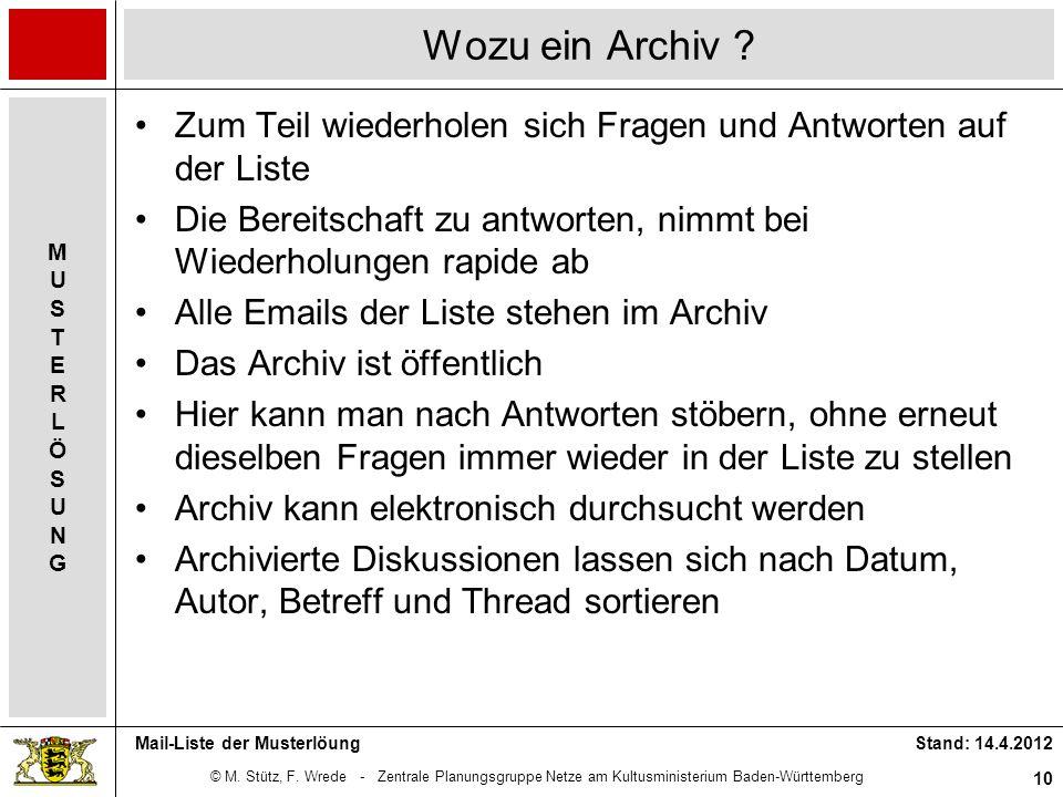 Wozu ein Archiv Zum Teil wiederholen sich Fragen und Antworten auf der Liste. Die Bereitschaft zu antworten, nimmt bei Wiederholungen rapide ab.