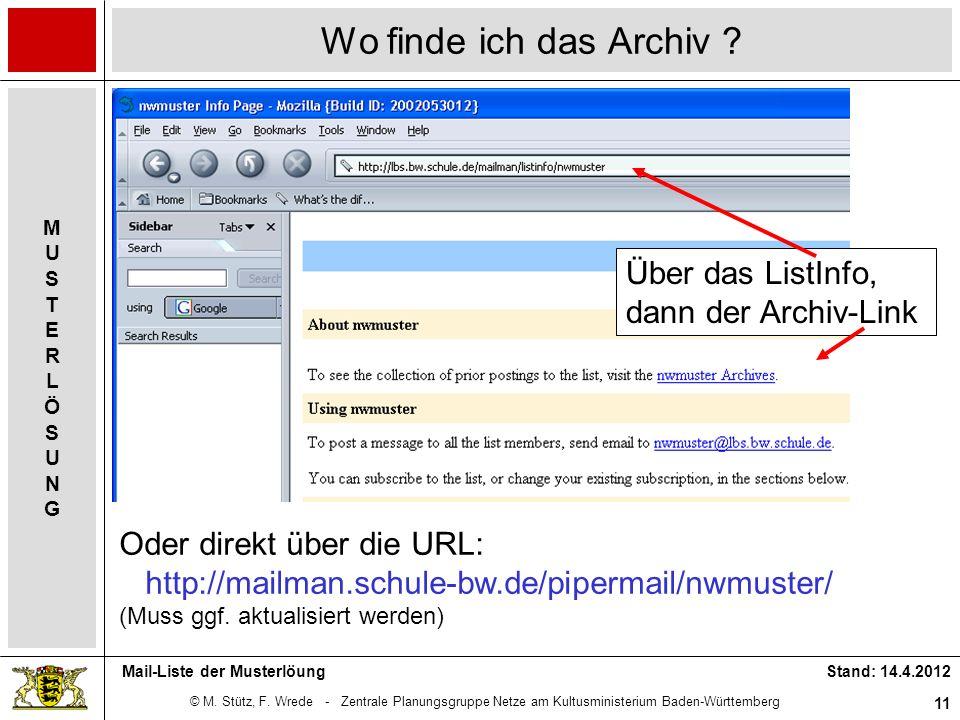 Wo finde ich das Archiv Über das ListInfo, dann der Archiv-Link