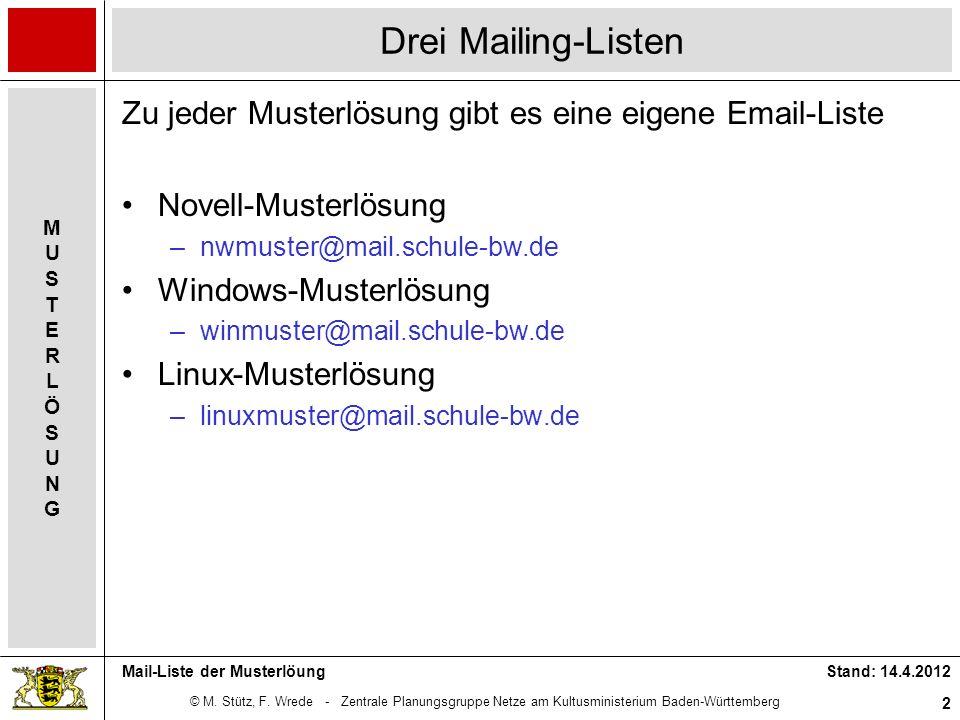 Drei Mailing-Listen Zu jeder Musterlösung gibt es eine eigene Email-Liste. Novell-Musterlösung. nwmuster@mail.schule-bw.de.