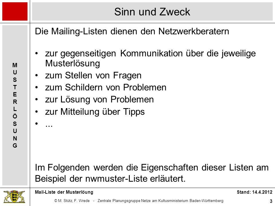 Sinn und Zweck Die Mailing-Listen dienen den Netzwerkberatern