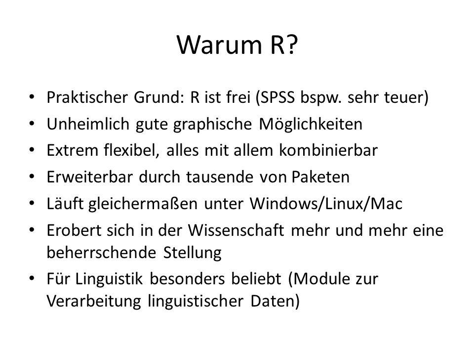 Warum R Praktischer Grund: R ist frei (SPSS bspw. sehr teuer)