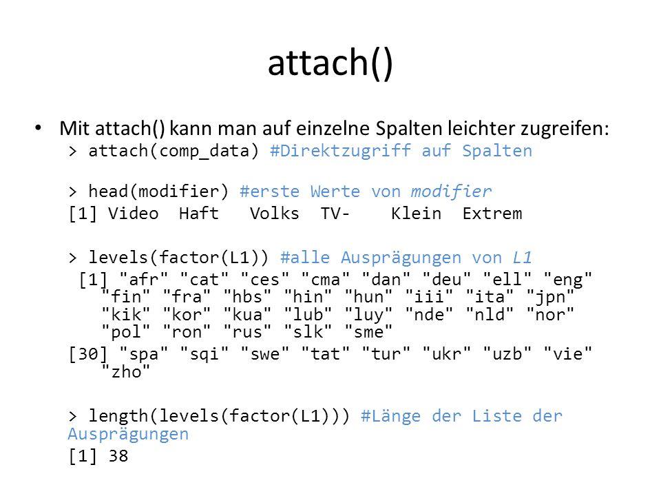 attach() Mit attach() kann man auf einzelne Spalten leichter zugreifen: > attach(comp_data) #Direktzugriff auf Spalten.