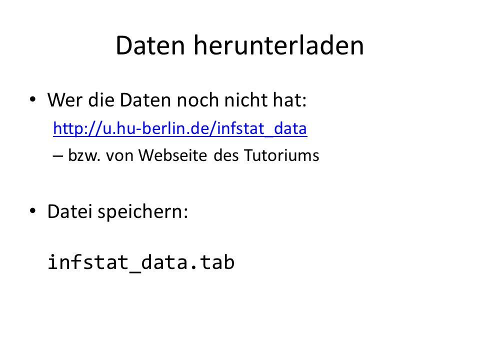 Daten herunterladen Wer die Daten noch nicht hat: