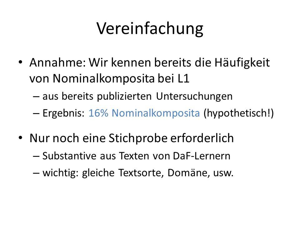 Vereinfachung Annahme: Wir kennen bereits die Häufigkeit von Nominalkomposita bei L1. aus bereits publizierten Untersuchungen.