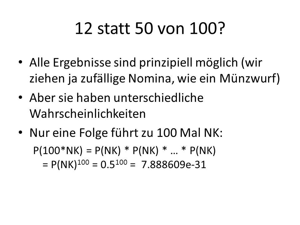 12 statt 50 von 100 Alle Ergebnisse sind prinzipiell möglich (wir ziehen ja zufällige Nomina, wie ein Münzwurf)
