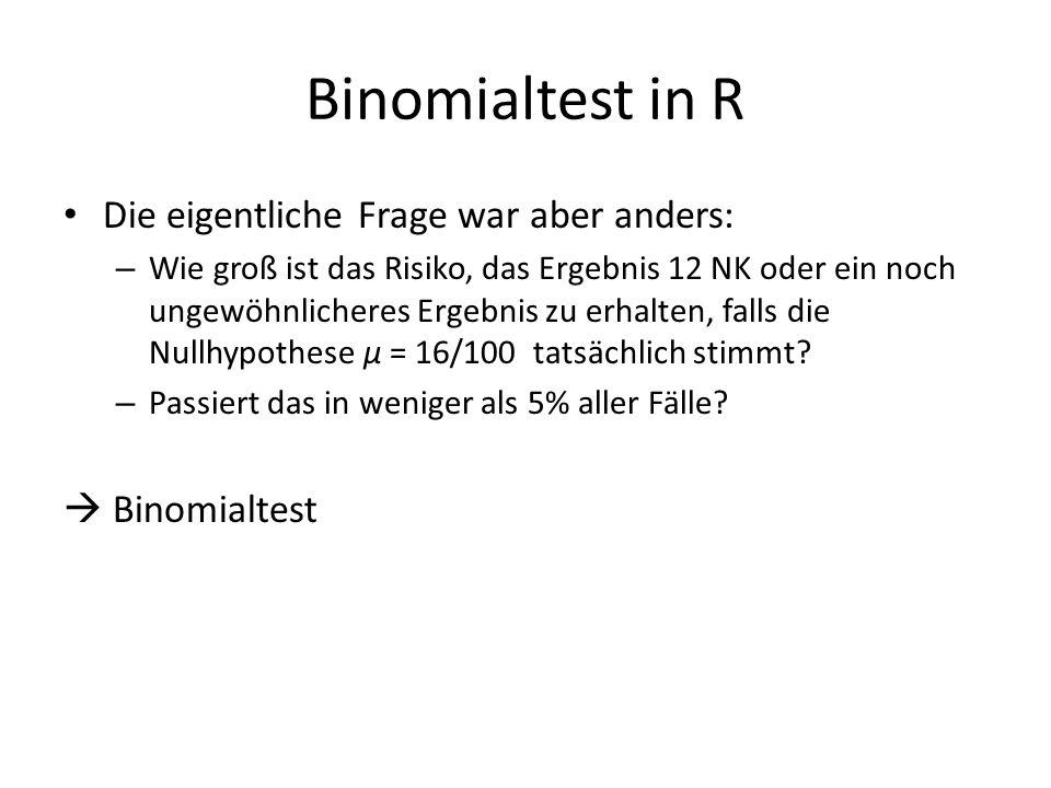 Binomialtest in R Die eigentliche Frage war aber anders: