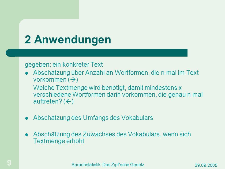 Sprachstatistik: Das Zipf sche Gesetz