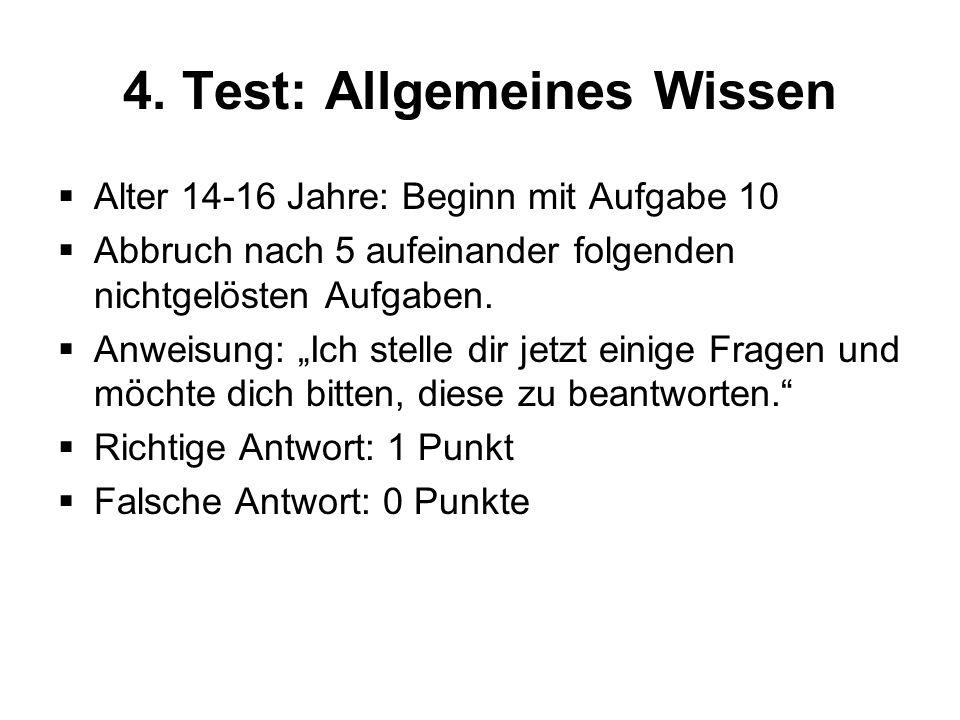 4. Test: Allgemeines Wissen