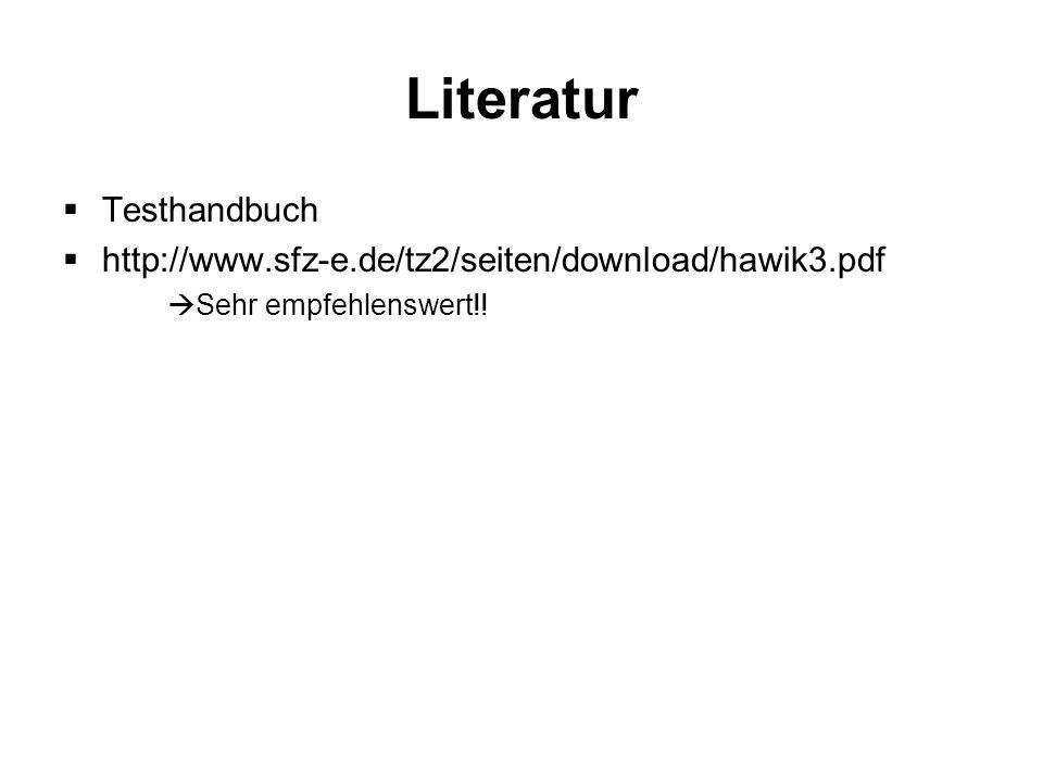 Literatur Testhandbuch