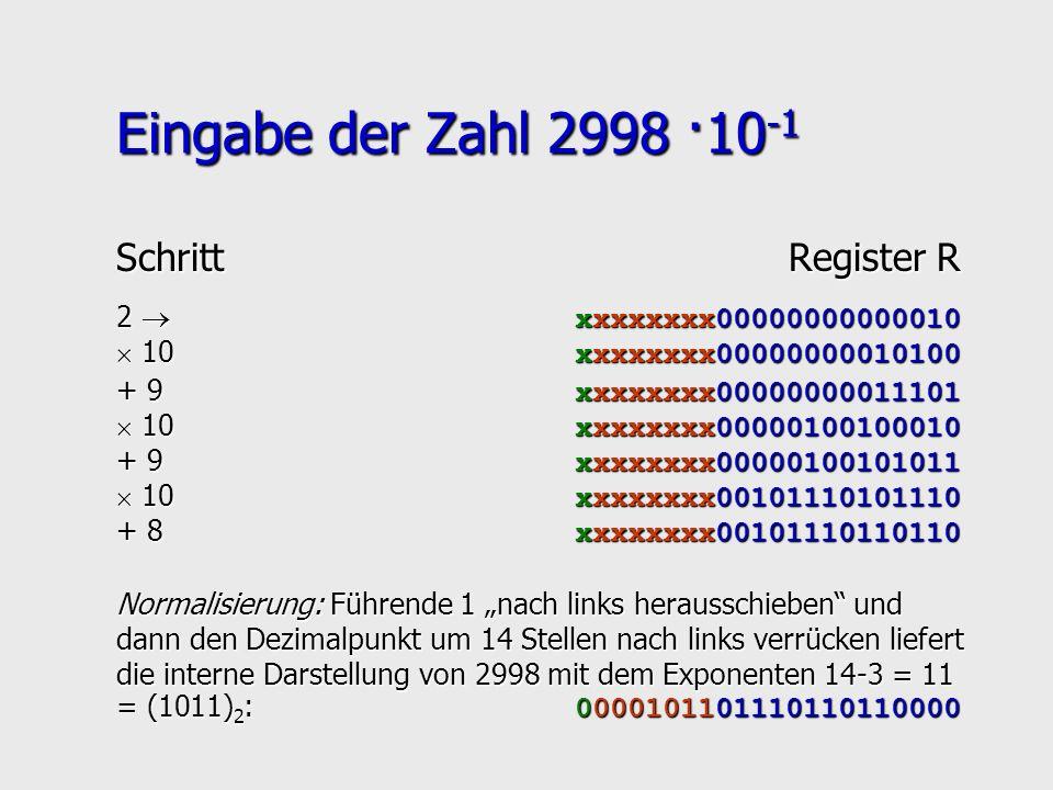 Eingabe der Zahl 2998 ·10-1 Schritt Register R
