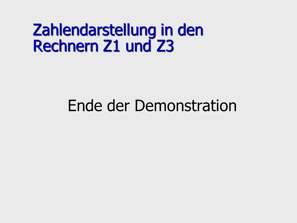 Zahlendarstellung in den Rechnern Z1 und Z3