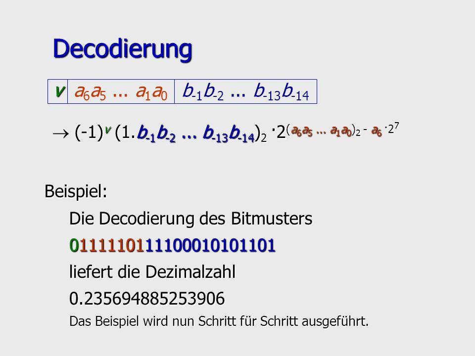 Decodierung v b-1b-2 ... b-13b-14 a6a5 ... a1a0