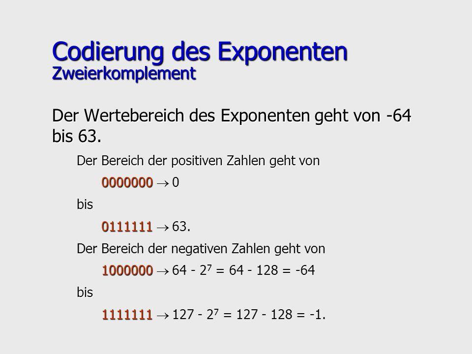 Codierung des Exponenten Zweierkomplement