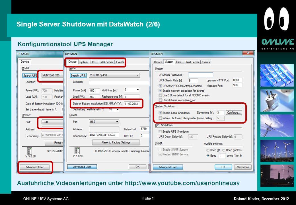 Single Server Shutdown mit DataWatch (2/6)