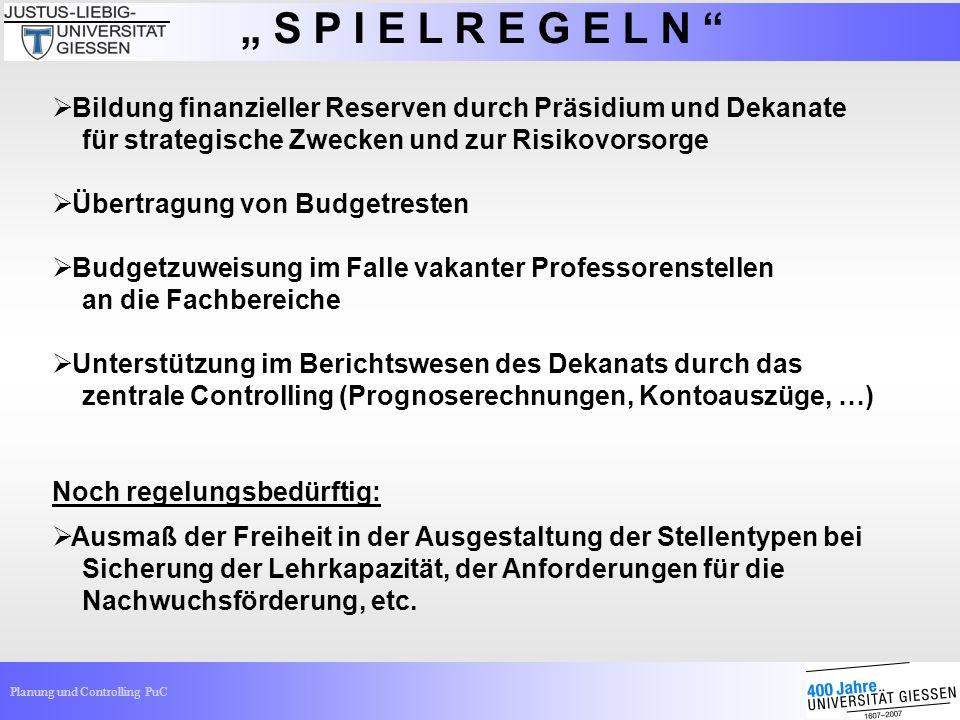 """"""" S P I E L R E G E L N Bildung finanzieller Reserven durch Präsidium und Dekanate. für strategische Zwecken und zur Risikovorsorge."""
