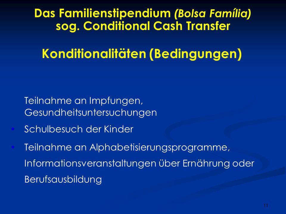 Das Familienstipendium (Bolsa Família) sog. Conditional Cash Transfer