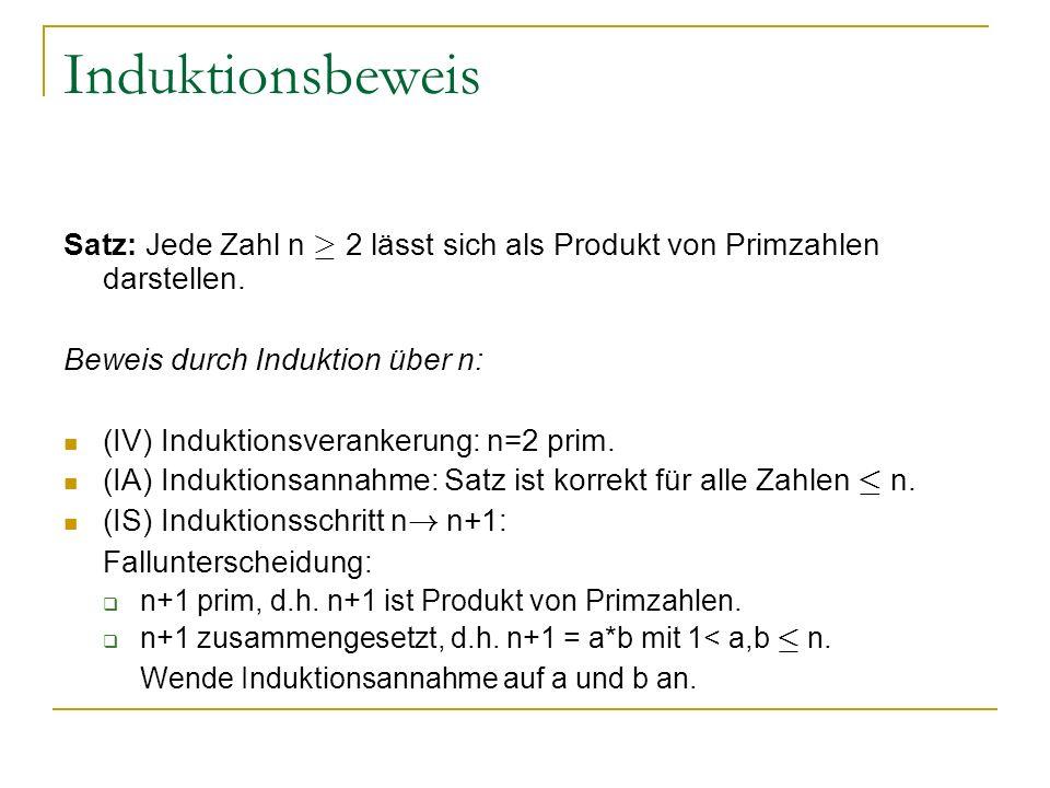 Induktionsbeweis Satz: Jede Zahl n ¸ 2 lässt sich als Produkt von Primzahlen darstellen. Beweis durch Induktion über n: