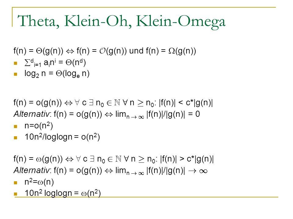 Theta, Klein-Oh, Klein-Omega