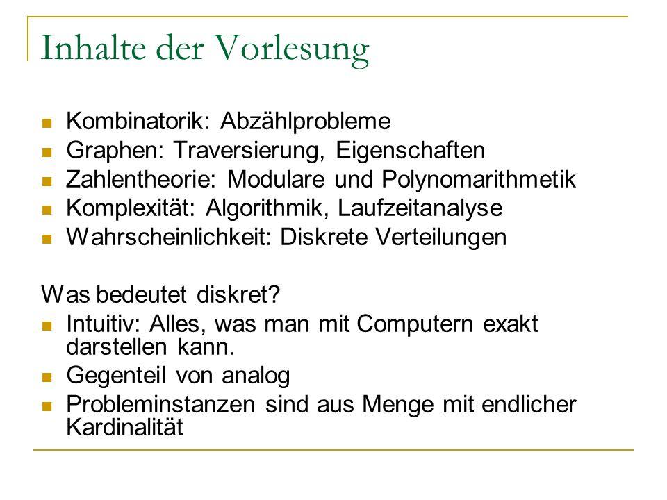 Inhalte der Vorlesung Kombinatorik: Abzählprobleme