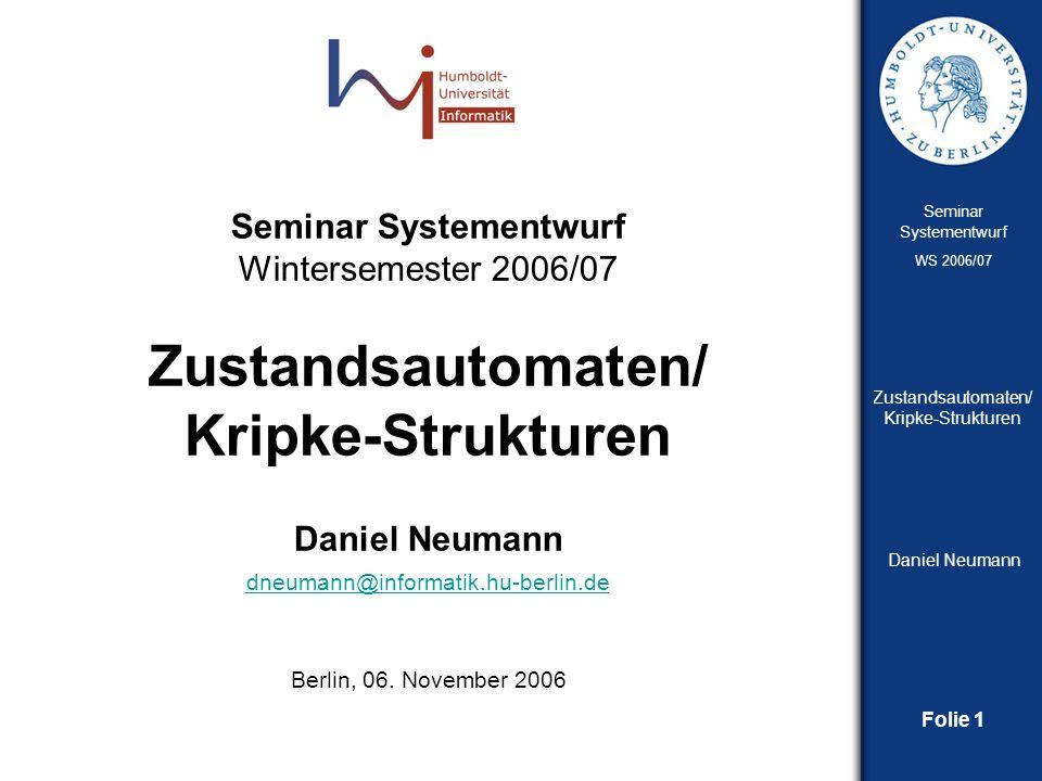 Daniel Neumann dneumann@informatik.hu-berlin.de