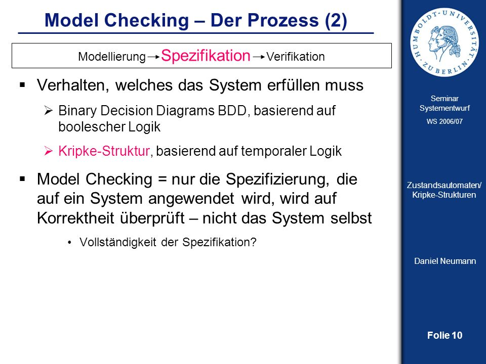 Model Checking – Der Prozess (2)