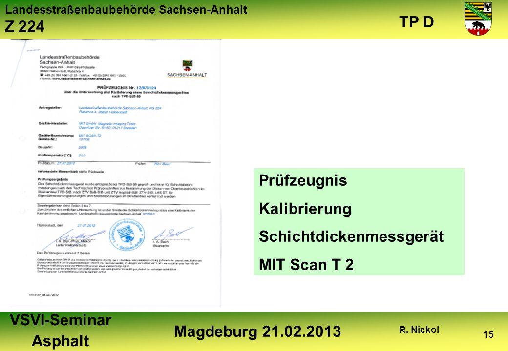 Prüfzeugnis Kalibrierung Schichtdickenmessgerät MIT Scan T 2