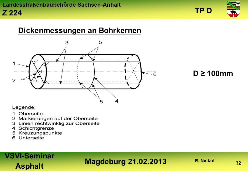 Dickenmessungen an Bohrkernen