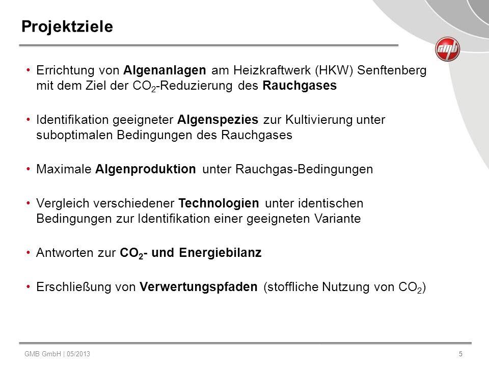 Projektziele Errichtung von Algenanlagen am Heizkraftwerk (HKW) Senftenberg mit dem Ziel der CO2-Reduzierung des Rauchgases.