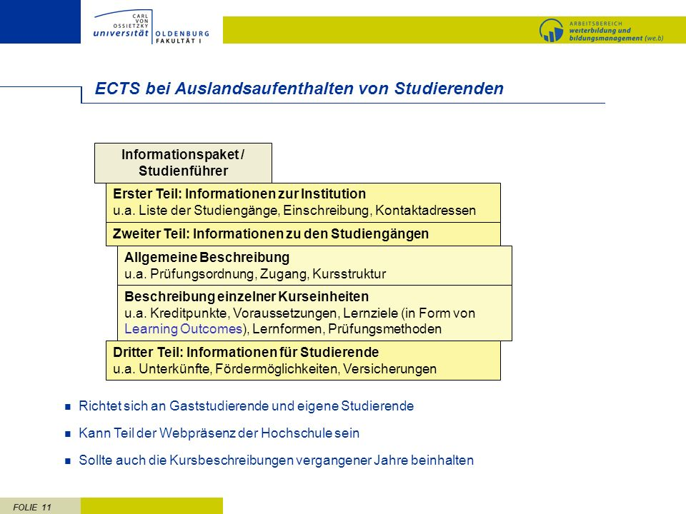 ECTS bei Auslandsaufenthalten von Studierenden