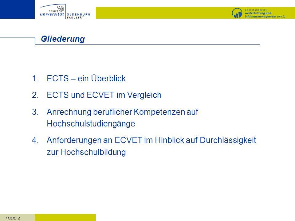 Gliederung ECTS – ein Überblick. ECTS und ECVET im Vergleich. Anrechnung beruflicher Kompetenzen auf Hochschulstudiengänge.